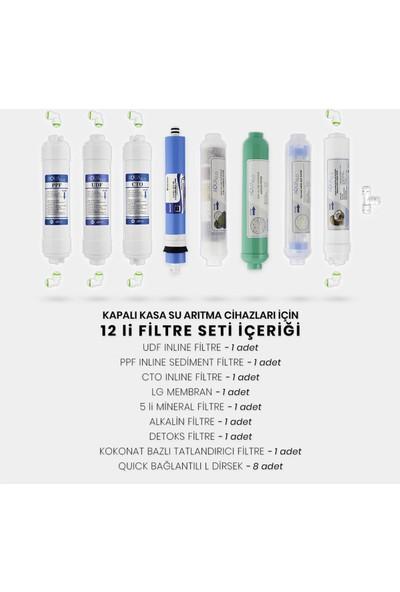 Mil Su Kapalı Kasa Su Arıtma Cihazı 12'li Filtresi Lg Membran Set