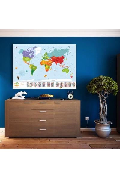 Popseker İngilizce Kids Map Eyaletli Bayraklı Çocuk İçin Eğitici Öğretici Dünya Haritası Dev Boy Xl