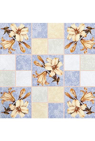 Dekorama Mavi Çiçek Desenli 140X140 Kare Masa Örtüsü