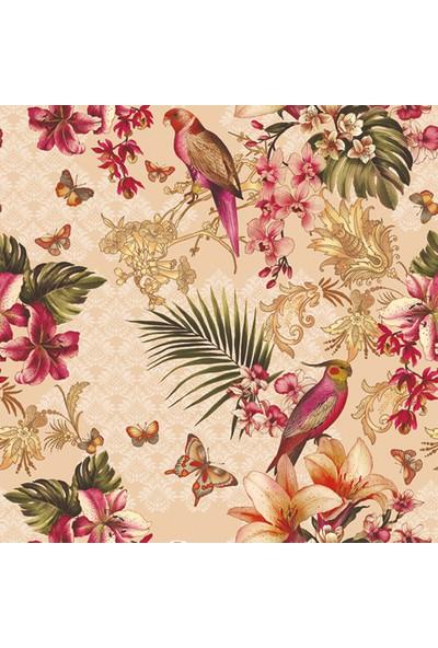 Dekorama Kuş ve Çiçek Desenli 140X140 Kare Masa Örtüsü