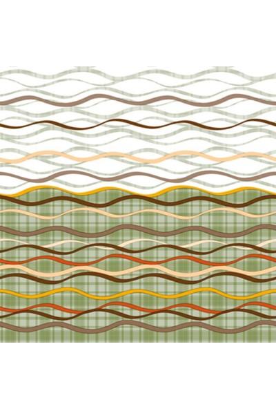 Dekorama Beyaz Yeşil Çizgi Desenli 140X140 Kare Masa Örtüsü