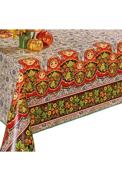 Dekorama Matruşka Desenli 140 cm Yuvarlak Masa Örtüsü