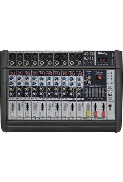 König K-10 P500 Fx 2X250 Watt 10 Kanal Power Mikser