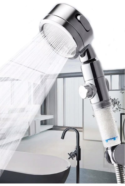 Brk Duş Başlığı Arıtma Filtreli Yüksek Basınç Krom 3 Sprey Ayarı Açık/kapa Anahtarı Su Tasarruflu