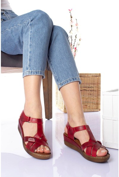 Epaavm Ped İçi Deri Orta Taban Kırmızı Sandalet