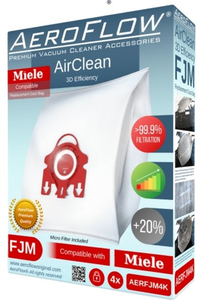 Aeroflow Miele Special Uyumlu Toz Torbası (Dörtlü Paket)