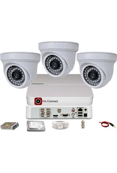 Qromax Pro D236B 3 'Lü 5 Megapiksel Sony Lens 1080P Aptina Sensör İç Mekan Güvenlik Kamerası Seti