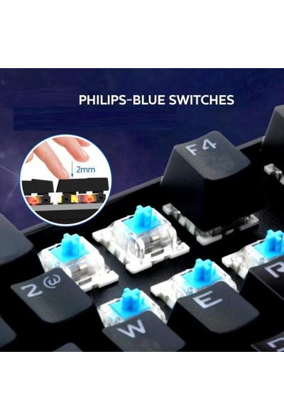 Philips SPK8404 USB Blue Switch Mekanik Oyuncu Q Klavye + Klavye Pad