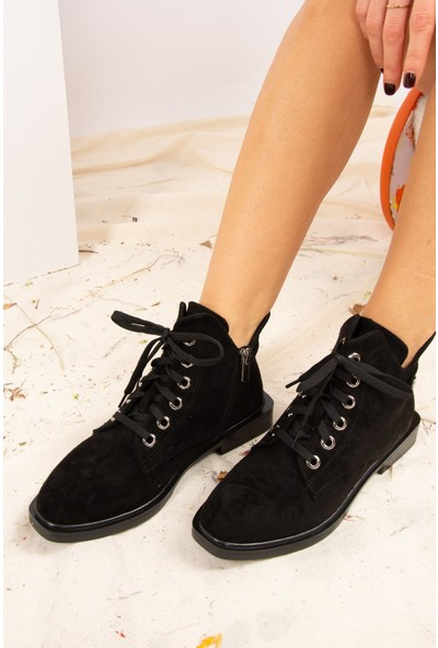 Fox Shoes Siyah Süet Kadın Bot J820000202