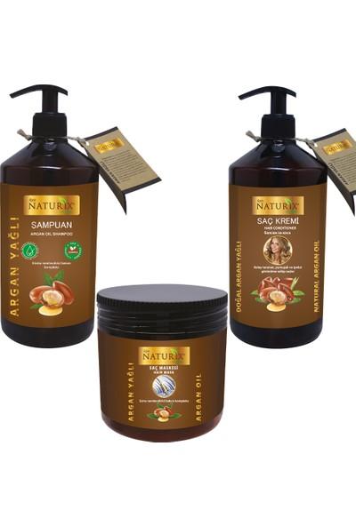 Naturix Organik Günlük Saç Bakım Yıpranmış Saçlara Organik Argan Yağlı Şampuan + Saç Kremi + Saç Maskesi 3'lü Set