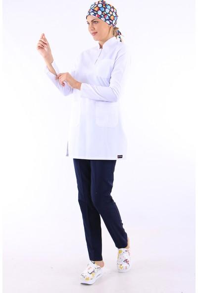 Kadın Tesettür Hakim Yaka Doktor Forması Hemşire Forması Diş Hekimi Nöbet Takımı (Alpaka)