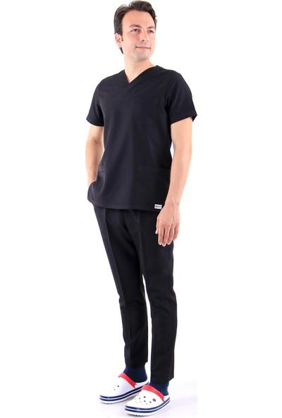 Awest Erkek Zarf Yaka Doktor Forması Hemşire Forması Diş Hekimi Forma Veteriner Nöbet Takımı (Alpaka)