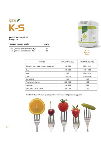 İgsaş K-S Potasyum Tiyosülfat Bahçe Çiçek Bitki Meyve Sebze Suda Çözünür Sıvı Kükürt Gübresi 25 Kg