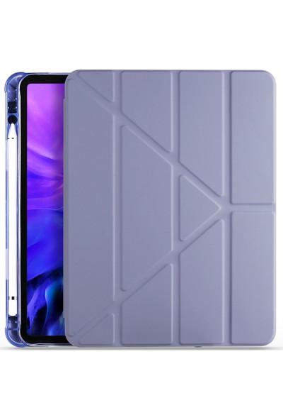 "Ceplab Apple iPad 10.2"" 8. Nesil Kılıf Kalem Bölmeli Silikon Smart Cover Mor"