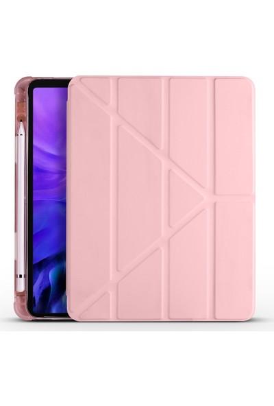 Ceplab Apple iPad Pro 11 2020 2. Nesil Kılıf Kalem Bölmeli Silikon Smart Cover+9h Nano Esnek Ekran Koruyucu Cam Rose Gold
