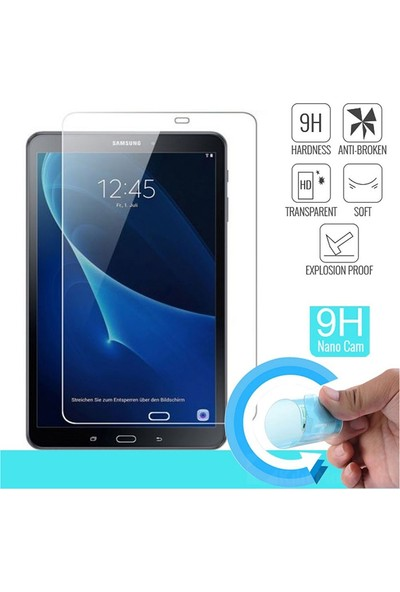 Ceplab Samsung Galaxy Tab S6 Lite P610 Kılıf Kalem Bölmeli Silikon Smart Cover+9h Nano Esnek Ekran Koruyucu Cam Rose Gold
