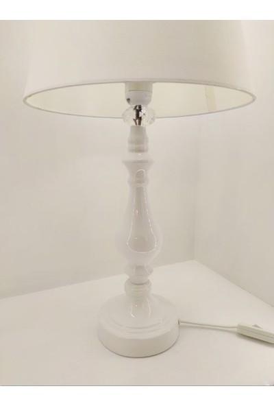 365gunserisonu Beyaz Rustik Klasik Metal Yüksek Ayaklı 30'luk Şapkalı Abajur Masa Lambası
