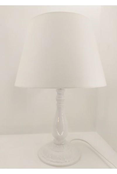 365gunserisonu Beyaz Rustik Klasik Metal Ayaklı 30'luk Şapkalı Abajur Masa Lambası