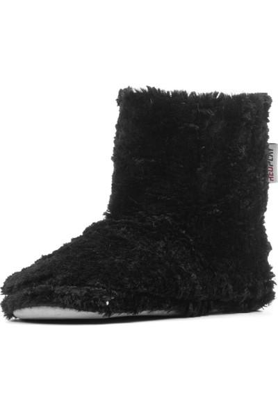 Redplay Çinçila Kadın Panduf Ev Botu Ev Ayakkabısı Siyah-39