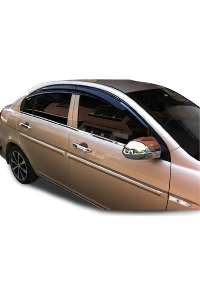 Blue Hyundai Accent Era ( 2005-2011 ) Paslanmaz Krom Cam Çıtası 4 Parça Blueoto