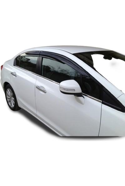Blue Honda Civic (2012-2015 ) Paslanmaz Krom Cam Çıtası 4 Parça Blueoto
