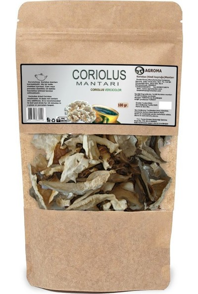 Agroma Koriolus (Coriolus Versicolor ) Hindi Kuyruğu Mantarı Kuru- Dilimli 100 gr