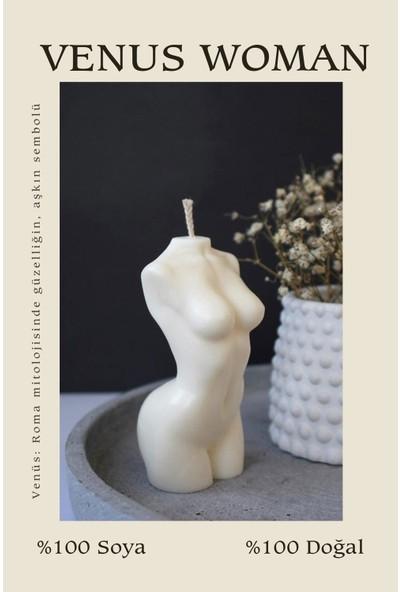 Sanat Sepet Beyaz Vanilya Kokulu Venüs Kadın Dekoratif Vücut Mum - 10 cm