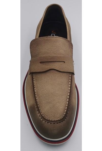 Ovatto Kum Rengi Hakiki Deri Tokalı Oxford Hazır Taban Erkek Klasik Ayakkabı