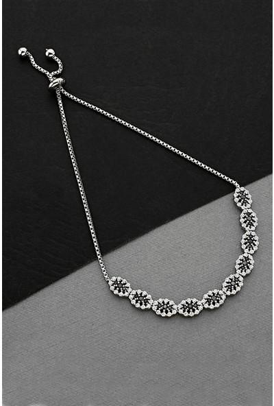 Argentum Concept Zirkon Taşlı Gümüş Asansörlü Bileklik B076901