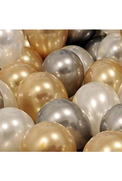 Kullanatparty 30 Adet Metalik Sedefli Gold-Gümüş Gri-Beyaz Balon, Helyumla Uçan