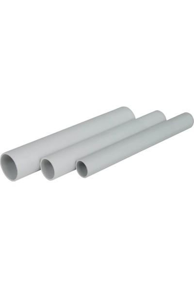 Zeybek PVC Alev Yaymayan Düz Boru 25/10 Beton Tipi - (1 Metre)