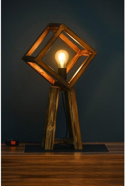 Antik House Doğal Ahşap Küp Masa Lambası ( Abajur)