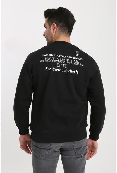 Enesil Berlin Baskılı Sıfır Yaka Şardonlu Erkek Sweatshirt