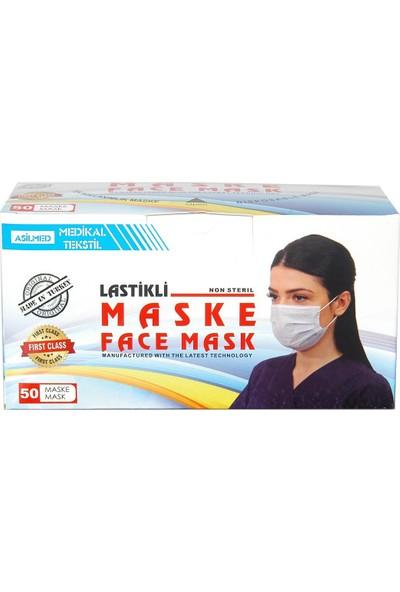Asilmed 5 Renk Kombin 3 Katlı Tam Full Ultrasonik Cerrahi Maske 50 Adet 10'lu Paketlenmiş Yeni Trend