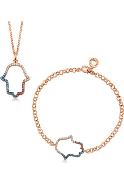 Valori Jewels Üç Renk Fatma Ana Eli, Swarovski Zirkon Renkli Taşlı, Rose Gümüş Set