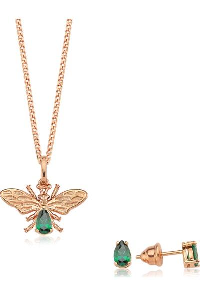 Valori Jewels Şanslı Arı, Swarovski Zirkon Yeşil Taşlı, Rose Gümüş Set