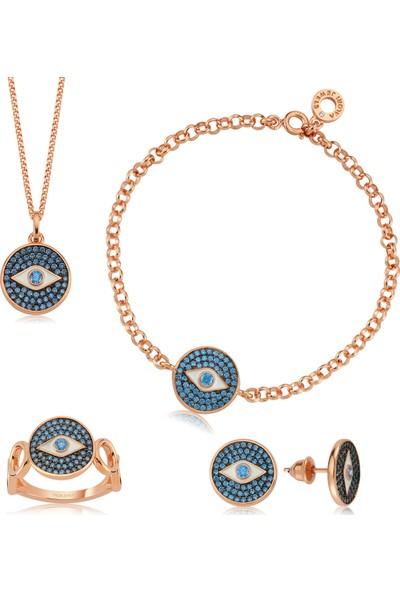 Valori Jewels Mistik Nazar Gözü, Swarovski Zirkon Mavi Taşlı, Rose Gümüş Dörtlü Set