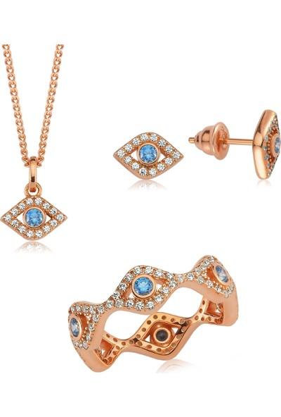 Valori Jewels Mini Nazar Gözü Tamturlu, Swarovski Zirkon Mavi ve Beyaz Taşlı, Rose Gümüş Set