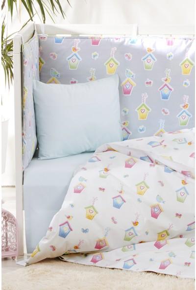 Bade Tasarım Sevimli Kuş Kafesi Desenli 7 Parça Bebek Uyku Seti