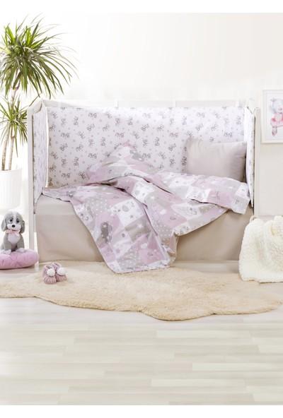 Bade Tasarım Pembe Baby & Sevimli Hayvan Desenli 7 Parça Bebek Uyku Seti