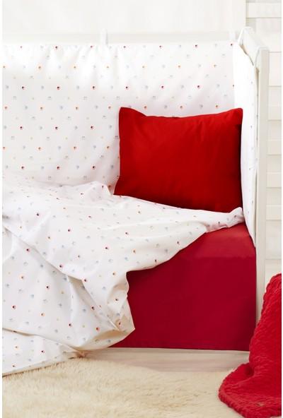 Bade Tasarım Pati Desenli 5 Parça Kırmızı Bebek Uyku Seti