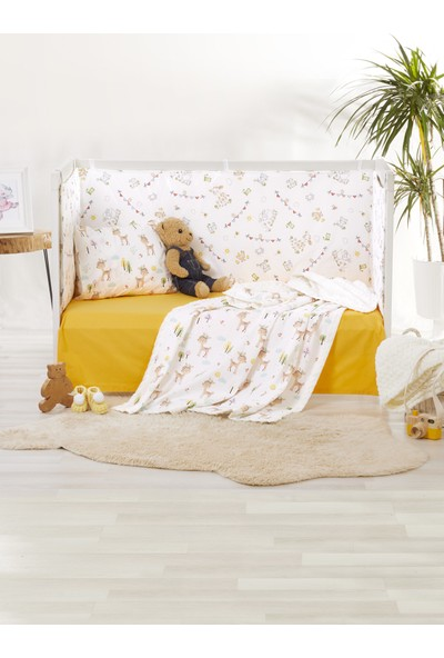 Bade Tasarım Ali Baba' nın Çiftliği Desenli 5 Parça Polarlı Sarı Bebek Uyku Seti