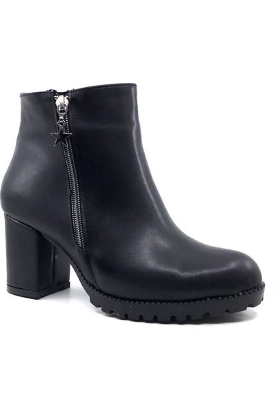 Scarletta 140 Cilt Deri Siyah Kışlık Bayan Botu