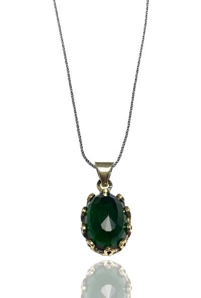 Midyat Gümüş Dünyası Otantik Gümüş Üçlü Set Yeşil Taşlı (Kod 2020581)