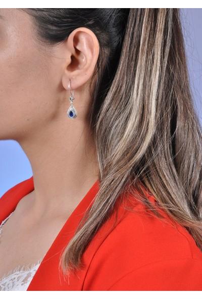 Midyat Gümüş Dünyası Mavi Taşlı Telkari Gümüş Bayan Üçlü Takım (Kod 2020728)
