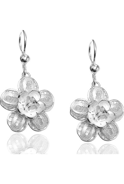 Midyat Gümüş Dünyası Çiçek Model Telkari Gümüş Bayan Üçlü Takım (Kod 2020424)