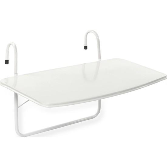 Vip Home Concept Balkon Masası Balkon Demirine Asılan Askılı Masa Beyaz