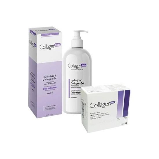 Collagen Forte Yüz ve Vücut Jeli 250 ml +Collagen Forte 1300 mg 90 Tablet