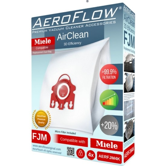 Aeroflow Miele Exquisit Se- S 250 Uyumlu Toz Torbası (Dörtlü Paket)