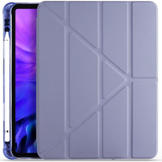 "Ceplab Apple iPad 10.2"" 7. Nesil Kılıf Kalem Bölmeli Silikon Smart Cover Mor"